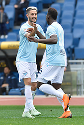 March 31, 2018 - Rome, Lazio, Italy - Felipe Caicedo celebrates with Luis Alberto after score goal 2-2 during the Italian Serie A football match between S.S. Lazio and Benevento at the Olympic Stadium in Rome, on march 31, 2018. (Credit Image: © Silvia Lore/NurPhoto via ZUMA Press)