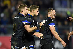 Rhys Priestland of Bath Rugby looks on afer scoring a try in the first half - Mandatory byline: Patrick Khachfe/JMP - 07966 386802 - 06/12/2019 - RUGBY UNION - The Recreation Ground - Bath, England - Bath Rugby v Clermont Auvergne - Heineken Champions Cup
