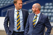Steve Clarke arrives at the National Stadium, Hampden Park to meet the press following his appointment as the Scotland National Team head coach along side SFA Chief Executive Ian Maxwell , manager at Hampden Park, Glasgow, United Kingdom on 21 May 2019.