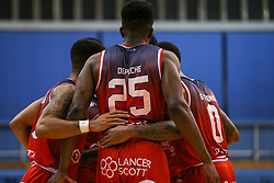 Bristol Flyers players huddle during a break in play - Photo mandatory by-line: Arron Gent/JMP - 28/09/2019 - BASKETBALL - Crystal Palace National Sports Centre - London, England - London City Royals v Bristol Flyers - British Basketball League Cup