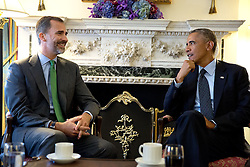 President Barack Obama meets with King Felipe VI of Spain at the Waldorf Astoria Hotel in New York, N.Y., Sept. 23, 2014. (Official White House Photo by Pete Souza)<br /> <br /> This official White House photograph is being made available only for publication by news organizations and/or for personal use printing by the subject(s) of the photograph. The photograph may not be manipulated in any way and may not be used in commercial or political materials, advertisements, emails, products, promotions that in any way suggests approval or endorsement of the President, the First Family, or the White House.