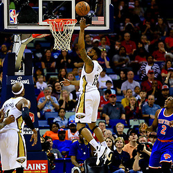 Mar 28, 2016; New Orleans, LA, USA; New Orleans Pelicans forward Alonzo Gee (15) shoots against the New York Knicks during the first quarter of a game at the Smoothie King Center. Mandatory Credit: Derick E. Hingle-USA TODAY Sports