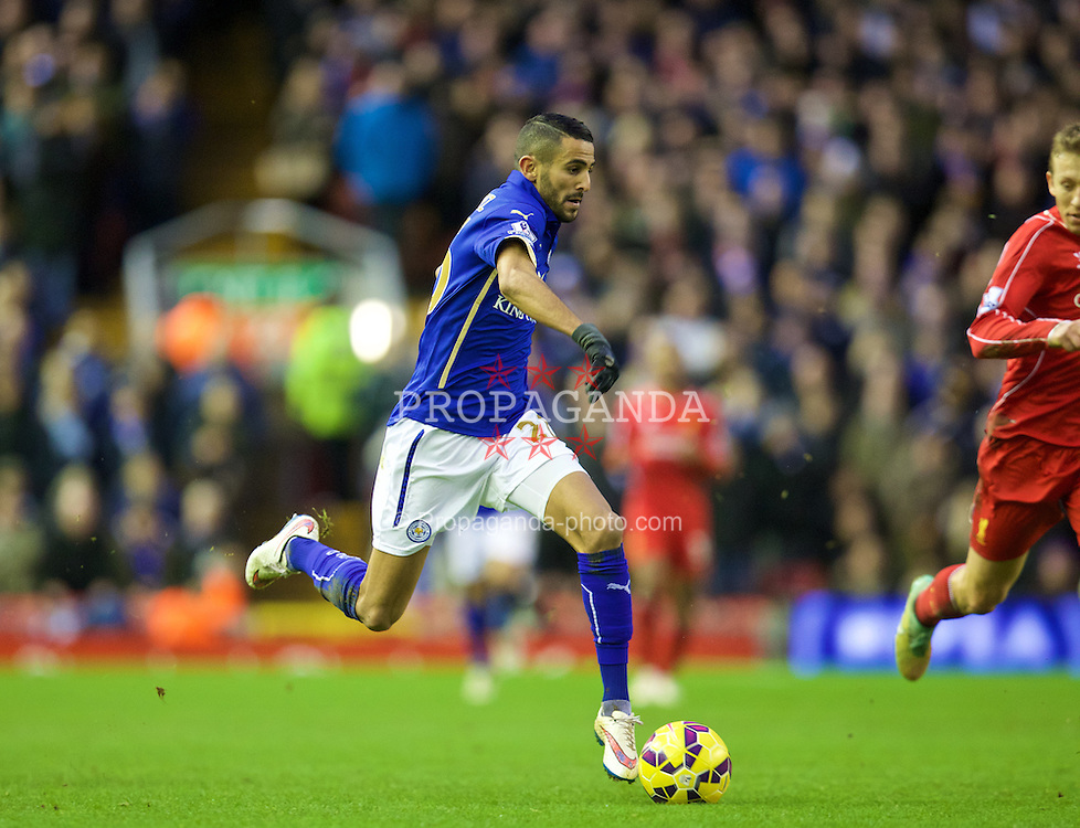 LIVERPOOL, ENGLAND - Thursday, New Year's Day, January 1, 2015: Leicester City's Riyad Mahrez in action against Liverpool during the Premier League match at Anfield. (Pic by David Rawcliffe/Propaganda)