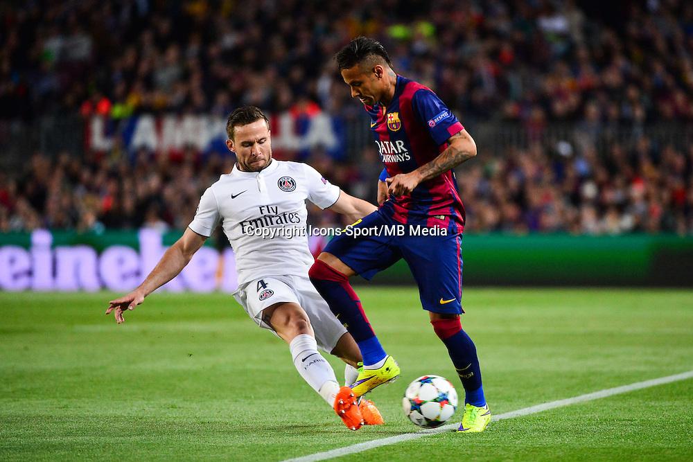 Yohan CABAYE / NEYMAR JR - 21.04.2015 - Barcelone / Paris Saint Germain - 1/4Finale Retour Champions League<br />Photo : Dave Winter / Icon Sport