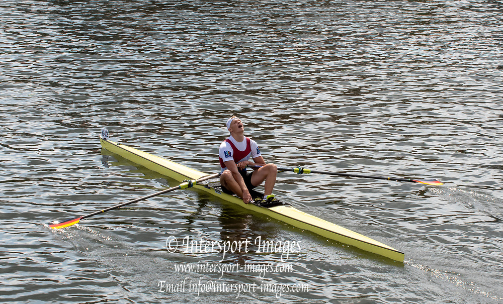 Henley on Thames, England, United Kingdom, Sunday, 07.07.19, O. Zeidler Germany, after crossing the line, to win the Final, of the Diamond Challenge Sculls, Henley Royal Regatta,  Henley Reach, [©Karon PHILLIPS/Intersport Images]<br /> <br /> 15:27:23 1919 - 2019, Royal Henley Peace Regatta Centenary,