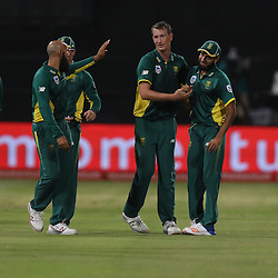 Chris Morris of the (South African Proteas) with Imran Tahir of the (South African Proteas) during the 2nd ODI Momentum One-Day International (ODI) series South African and Sri Lanka at Kingsmead, Durban, South Africa.1st February 2017 - (Photo by Steve Haag)