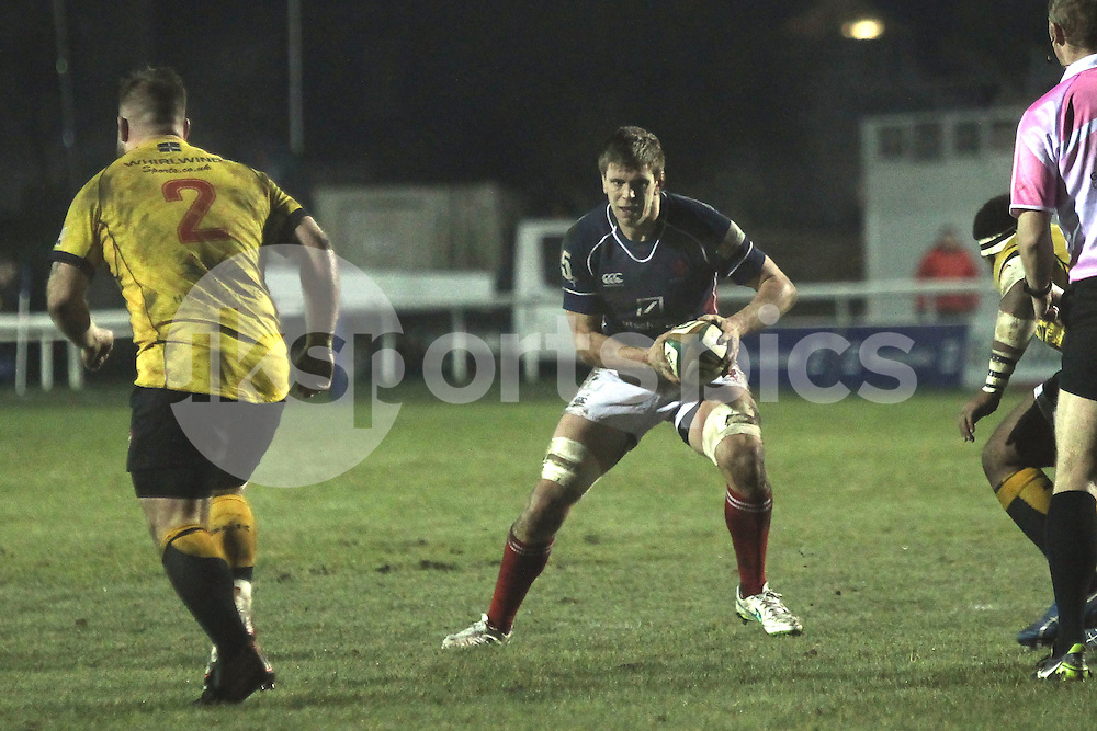 Gregor Gillanders in action during the Green King IPA Championship match between London Scottish &amp; Cornish Pirates at Richmond, Greater London on 16th January 2015<br /> <br /> Photo: Ken Sparks | UK Sports Pics Ltd<br /> London Scottish v Cornish Pirates, Green King IPA Championship, 16h January 2015<br /> <br /> &copy; UK Sports Pics Ltd. FA Accredited. Football League Licence No:  FL14/15/P5700.Football Conference Licence No: PCONF 051/14 Tel +44(0)7968 045353. email ken@uksportspics.co.uk, 7 Leslie Park Road, East Croydon, Surrey CR0 6TN. Credit UK Sports Pics Ltd