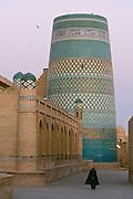 Uzbekistan, Khiva, Ichon-Qala.<br /> Kalta Minor Minaret at dawn.