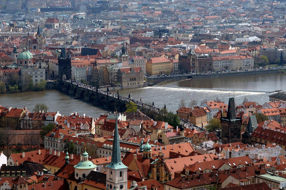 Prague, Czech republic. Charles bridge over Vltava river. Old town Prague seen in background.