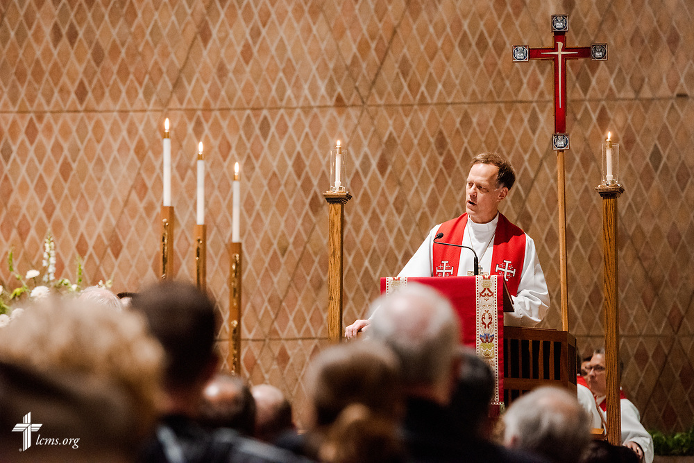 The Rev. John E. Hill, president of the Wyoming District, preaches at The Order of Vespers with Distribution of Calls into the Holy Ministry on Wednesday, April 25, 2018, in Kramer Chapel at Concordia Theological Seminary, Fort Wayne, Ind. LCMS Communications/Erik M. Lunsford