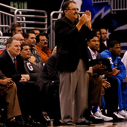 March 11, 2012; Orlando, FL, USA; Orlando Magic head coach Stan Van Gundy watches from the bench during the first quarter of a game against the Indiana Pacers at  Amway Center.   Mandatory Credit: Derick E. Hingle-US PRESSWIRE