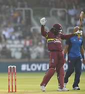 Chris Gayle of West Indies acknowledges the crowd during the International Twenty/20 match at Lord's, London<br /> Picture by Simon Dael/Focus Images Ltd 07866 555979<br /> 31/05/2018