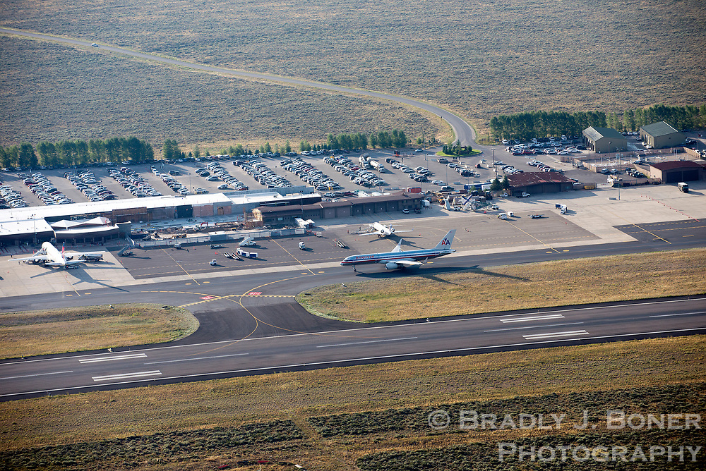 Aerial of Jackson Hole Airport in Grand Teton National Park