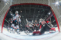 KELOWNA, CANADA - JANUARY 18: Rodney Southam #17 of the Kelowna Rockets tries to score a goal on Brody Willms #35 of the Moose Jaw Warriors on January 18, 2017 at Prospera Place in Kelowna, British Columbia, Canada.  (Photo by Marissa Baecker/Shoot the Breeze)  *** Local Caption ***