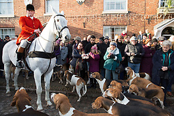 © Licensed to London News Pictures. 26/12/2017. Market Bosworth, Leicestershire, UK. The Hunt meeting in the Market Square, Market Bosworth earlier today. Pictured, the hunt form up in the market square. Photo credit: Dave Warren/LNP
