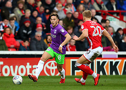 Josh Brownhill of Bristol City takes on Brad Potts of Barnsley - Mandatory by-line: Robbie Stephenson/JMP - 30/03/2018 - FOOTBALL - Oakwell Stadium - Barnsley, England - Barnsley v Bristol City - Sky Bet Championship
