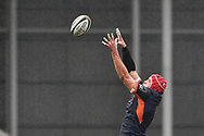 Grant Gilchrist of Edinburgh claims the lineout<br /> <br /> Photographer Craig Thomas/Replay Images<br /> <br /> Guinness PRO14 Round 11 - Scarlets v Edinburgh - Saturday 15th February 2020 - Parc y Scarlets - Llanelli<br /> <br /> World Copyright © Replay Images . All rights reserved. info@replayimages.co.uk - http://replayimages.co.uk