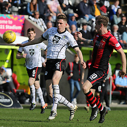 Jack Baird passes back to his keeper befor Robert Thomson gets there  during the St Mirren v Dumbarton Scottish Championship 08 April 2017<br /> <br /> <br /> <br /> <br /> <br /> (c) Andy Scott | SportPix.org.uk