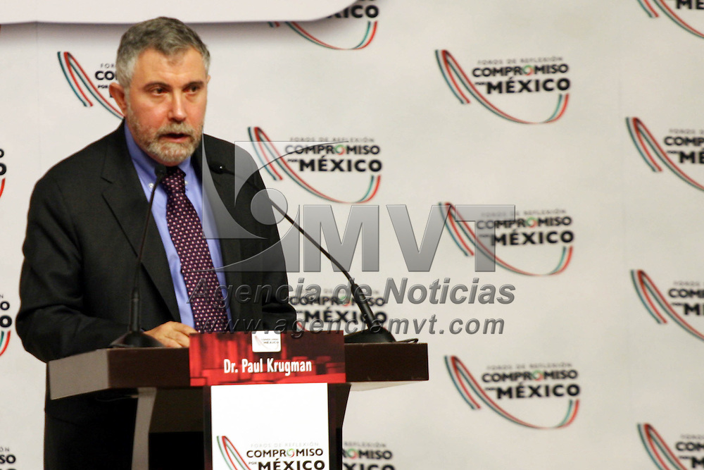 Toluca, Mex.- Paul Krugman en su conferencia magistral del panel de competitividad de los Foros de Reflexi&oacute;n &ldquo;Compromiso por M&eacute;xico&rdquo;, el premio nobel de econom&iacute;a en el a&ntilde;o 2008, manifest&oacute; que ning&uacute;n pa&iacute;s ha podido tener un verdadero desarrollo econ&oacute;mico sin antes tener una sociedad educada y mejores condiciones de acceso a la infraestructura y transparencia. Agencia MVT / Jos&eacute; Hern&aacute;ndez. (DIGITAL)<br /> <br /> NO ARCHIVAR - NO ARCHIVE