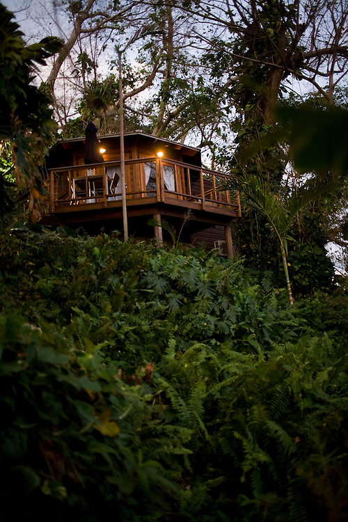 A view of the Rocksteady Villa tucked away in lush vegetation at the Geejam, a luxury boutique hotel with a state of the art recording studio that has attracted famous musicians to make their albums.