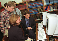 Melinda and Bill Gates visit a computer station donated to the Demopolis, Alabama library by The Gates Library Foundation in 1999. ©Ann Little All Rights Reserved
