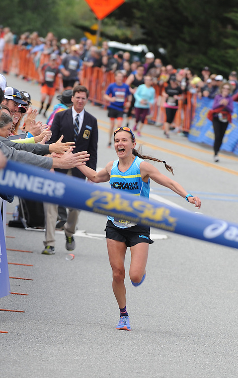 Magdalena Boulet, 42, wins the women's race at Sunday's 2016 Big Sur Marathon with a time of 3:01:27.