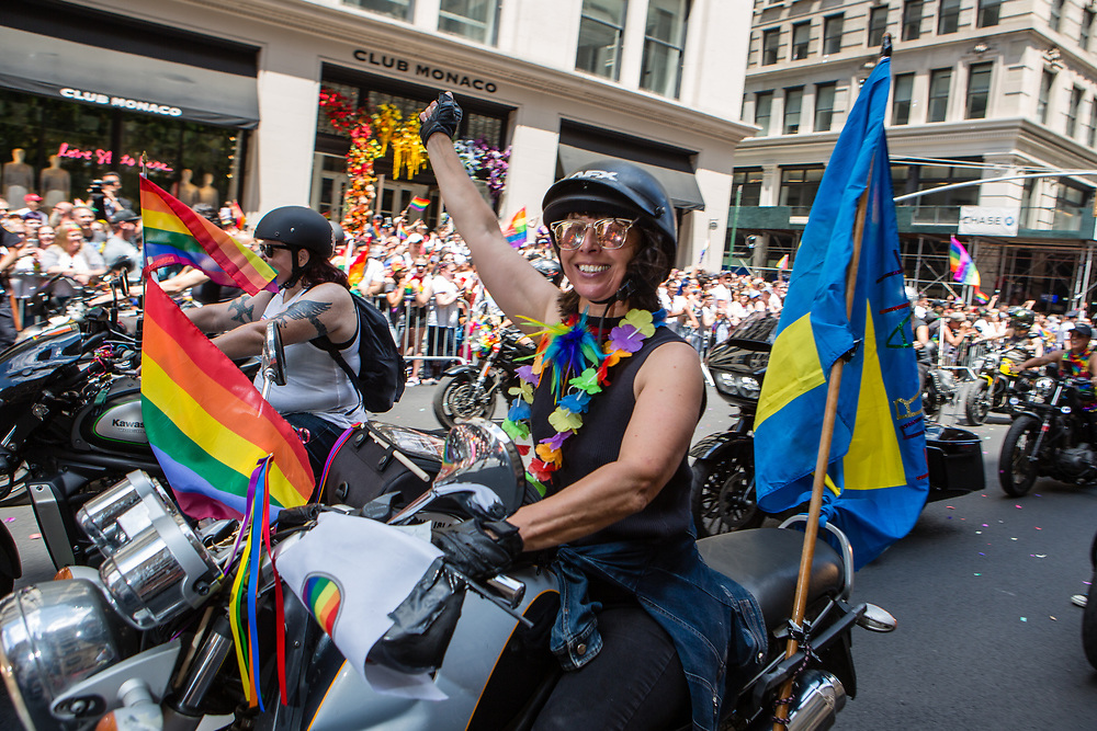 New York, NY - 30 June 2019. The New York City Heritage of Pride March filled Fifth Avenue for hours with participants from the LGBTQ community and it's supporters. Motorcycles led the march.