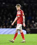 Hayden Coulson (33) of Middlesbrough during the EFL Sky Bet Championship match between Fulham and Middlesbrough at Craven Cottage, London, England on 17 January 2020.
