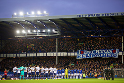 LIVERPOOL, ENGLAND - Sunday, November 3, 2019: Everton and Tottenham Hotspur players stand for a minute's silence ahead of Remembrance Sunday before the FA Premier League match between Everton FC and Tottenham Hotspur FC at Goodison Park. (Pic by David Rawcliffe/Propaganda)