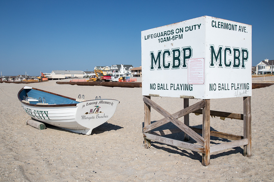 Margate City Lifeguard stand and boat are ready to protect a beach that is closed due to the beach replenishment project imposed by Governor Chris Christy.