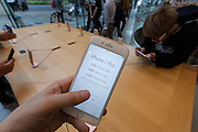 The new iPhone 7s and iPhone 7 plus on display in the Apple store  in Omotesando, Tokyo, Japan. Friday September 16th 2016. The iPhone launches are global events. Around 200 eager customers waited outside the Apple store in Tokyo, some for several days, to be first in line to buy the new product.