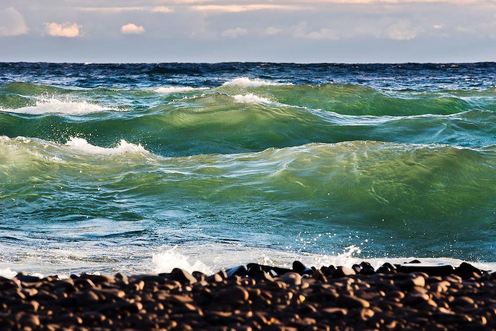 illuminated waves, Lake Superior