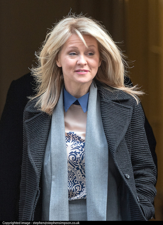 © Licensed to London News Pictures. 18/03/2015. Westminster, UK Esther McVey, Minister of State for Employment, leaves Downing Street on the day of the spring budget 2015. Photo credit : Stephen Simpson/LNP