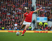 Wales Dan Biggar kicking to convert the try during the Rugby World Cup Quarter Final match between South Africa and Wales at Twickenham, Richmond, United Kingdom on 17 October 2015. Photo by Matthew Redman.