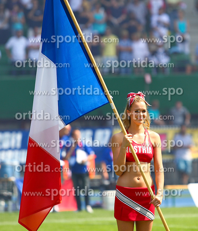 16.07.2011, Ernst Happel Stadion, Wien, AUT, American Football WM 2011, Germany (GER) vs France (FRA), im Bild cheerleader with french flag // during the American Football World Championship 2011 game, Germany vs France, at Ernst Happel Stadion, Wien, 2011-07-16, EXPA Pictures © 2011, PhotoCredit: EXPA/ T. Haumer