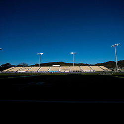 The sun sets before the Rugby Championship match between the New Zealand All Blacks and Argentina Pumas at Trafalgar Park in Nelson, New Zealand on Saturday, 8 September 2018. Photo: Dave Lintott / lintottphoto.co.nz