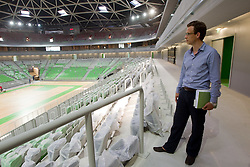 Ziga Babnik, constructor of a basketball arena. A week before the opening of a new football stadium and sports arena in Stozice, on August 4, 2010, in Stozice, Ljubljana, Slovenia.  (Photo by Vid Ponikvar / Sportida)