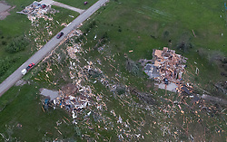 Debris from destroyed homes is strewn across yards in Linwood, Kansas Wednesday, May 29, 2019 after a tornado ripped through the town on Tuesday night. Photo byRich Sugg/Kansas City Star/TNS/ABACAPRESS.COM