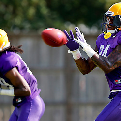 Aug 8, 2013; Baton Rouge, LA, USA; LSU Tigers safety Micah Eugene (34) during a fall practice at the McClendon Practice Facility. Mandatory Credit: Derick E. Hingle-USA TODAY Sports