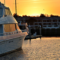 Yacht at Sunset along Riverwalk in Bradenton, Florida<br />