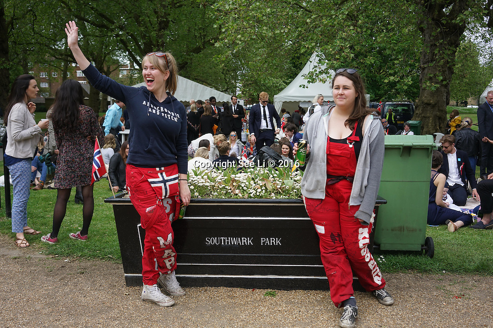 London,England,UK : 17 May 2016 : Norwegian Minister of Defense, Ine Eriksen Søreide, and Ambassador Mona Juul, attended Norway Day celebrations in London, on May 17, 2016. Norway Day marks the anniversary of the signing of the country's constitution on May 17, 1814. Festivities include, music and food as people gathered in Southwark Park. Photo by See Li