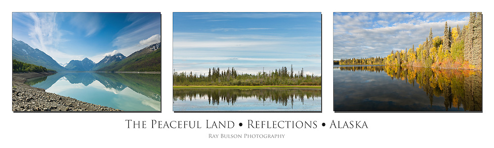 Triptych of reflections on Eklutna Lake, Byers lake, and pond along Taylor Highway in Alaska.