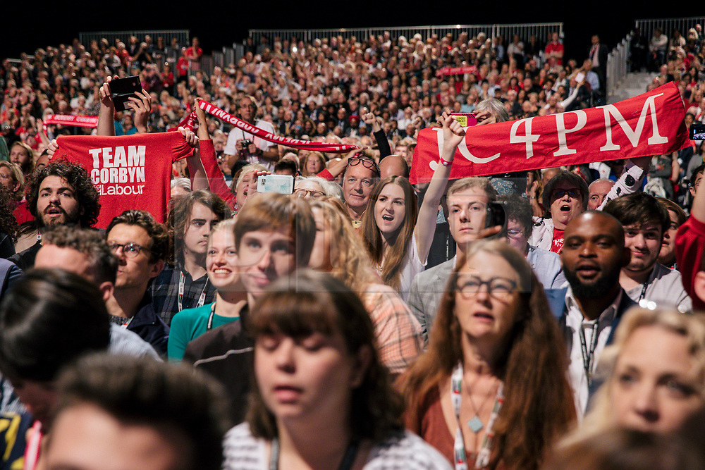 © Licensed to London News Pictures. 26/09/2018. Liverpool, UK. Labour Party activists await Labour Leader Jeremy Corbyn's closing speech at the Labour Party Conference ahead of Jeremy Corbyn's speech. Photo credit: Rob Pinney/LNP
