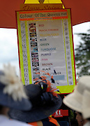 © Licensed to London News Pictures. 21/06/2012. Ascot, UK A betting stand showing the odds not he colour of the Queen's outfit.  Ladies Day at Royal Ascot 21st June 2012. Royal Ascot has established itself as a national institution and the centrepiece of the British social calendar as well as being a stage for the best racehorses in the world.. Photo credit : Stephen Simpson/LNP