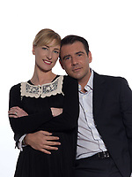 beautiful caucasian couple on studio white background