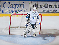 KELOWNA, CANADA - NOVEMBER 24:  Alex Moodie #33 of the Saskatoon Blades stands in net against the Kelowna Rockets on November 24, 2012 at Prospera Place in Kelowna, British Columbia, Canada (Photo by Marissa Baecker/Shoot the Breeze) *** Local Caption ***
