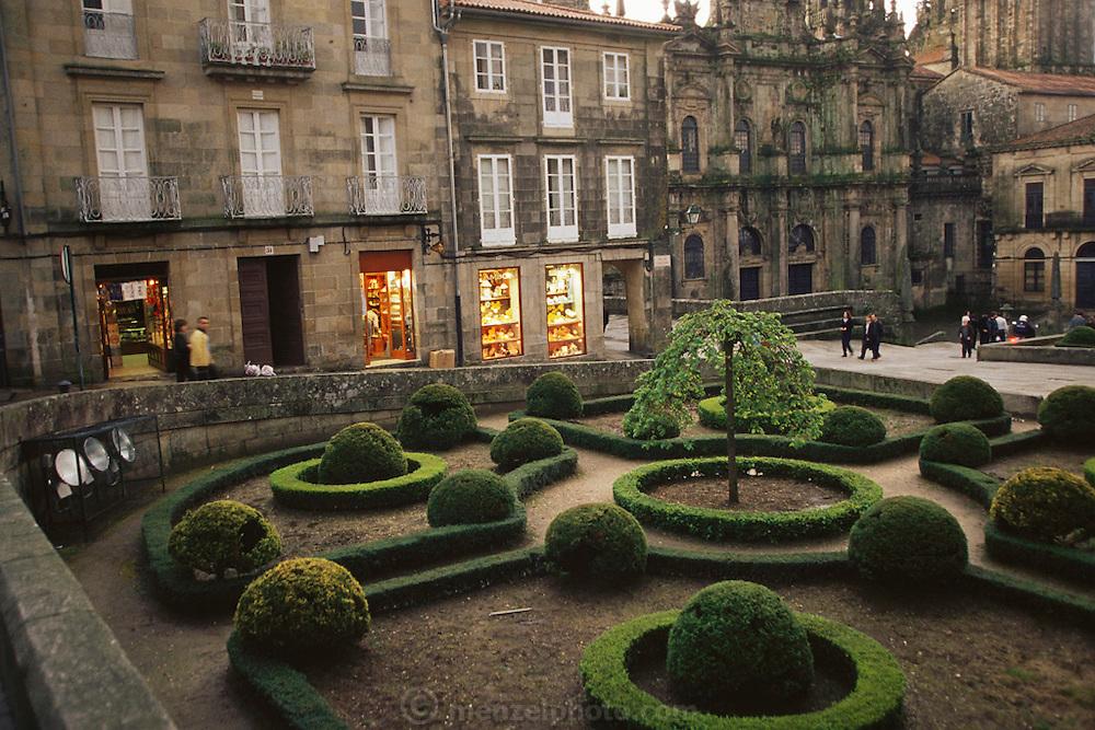 Shops near the cathedral, Santiago de Compostela, Spain.