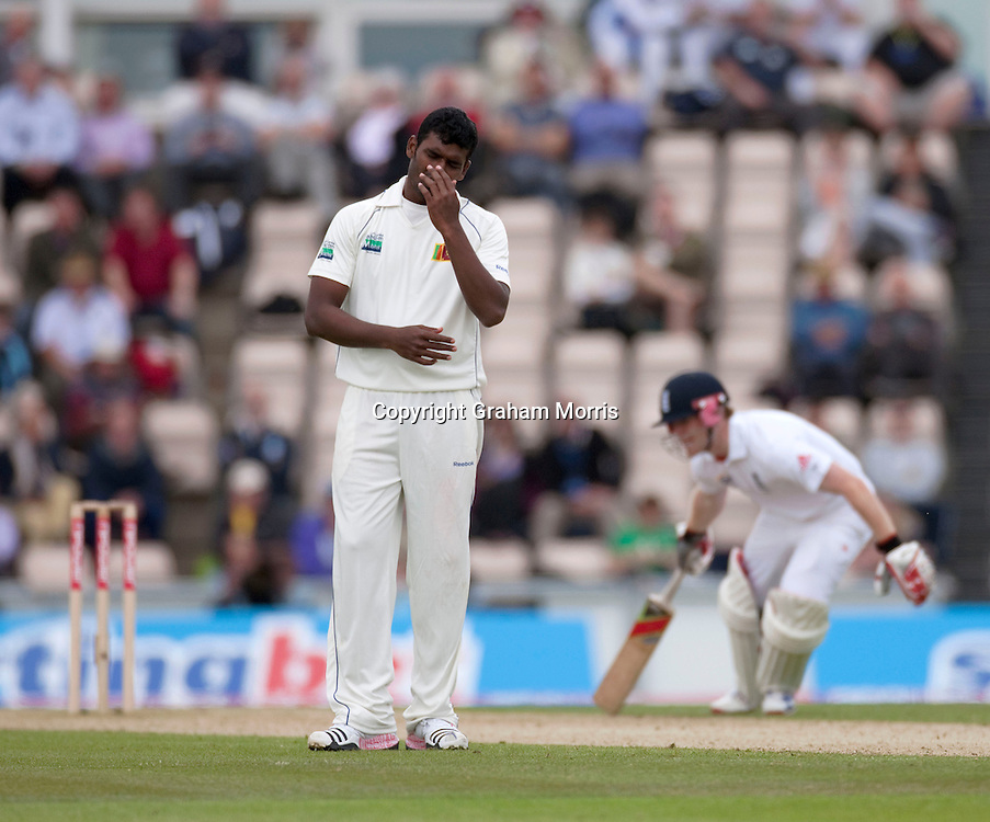 Bowler Thisara Perera goes for runs during the third npower Test Match between England and Sri Lanka at the Rose Bowl, Southampton.  Photo: Graham Morris (Tel: +44(0)20 8969 4192 Email: sales@cricketpix.com) 19/06/11