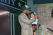 Apr 25, 2019; Nashville, TN, USA; Kentucky linebacker Josh Allen and his son Wesley after being selected as the No. 7 pick of the first round by the Jacksonville Jaguars during the 2019 NFL Draft. (Kim Hukari/Image of Sport)