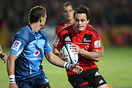 Zac Guildford on the attack for the Crusaders..Investec Super Rugby - Crusaders v Bulls, 9 April 2011, Alpine Energy Stadium, Timaru, New Zealand..Photo: Rob Jefferies / www.photosport.co.nz